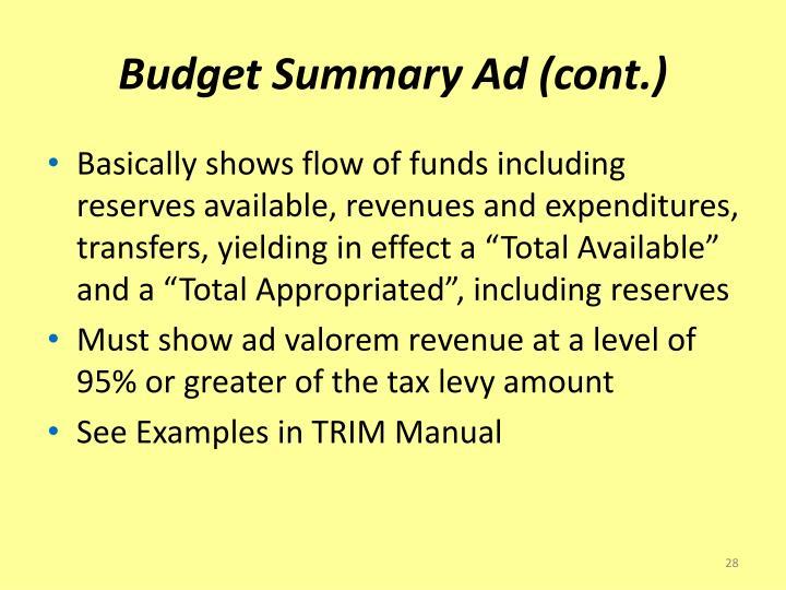 Budget Summary Ad (cont.)