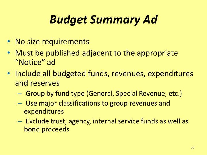 Budget Summary Ad