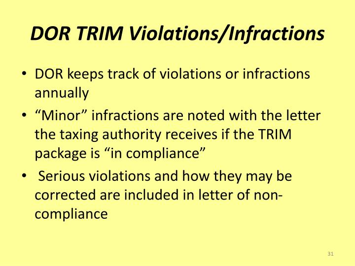 DOR TRIM Violations/Infractions