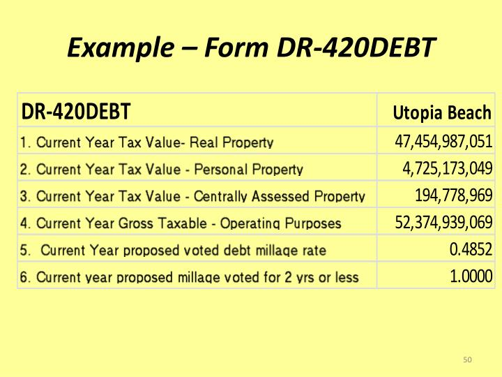 Example – Form DR-420DEBT
