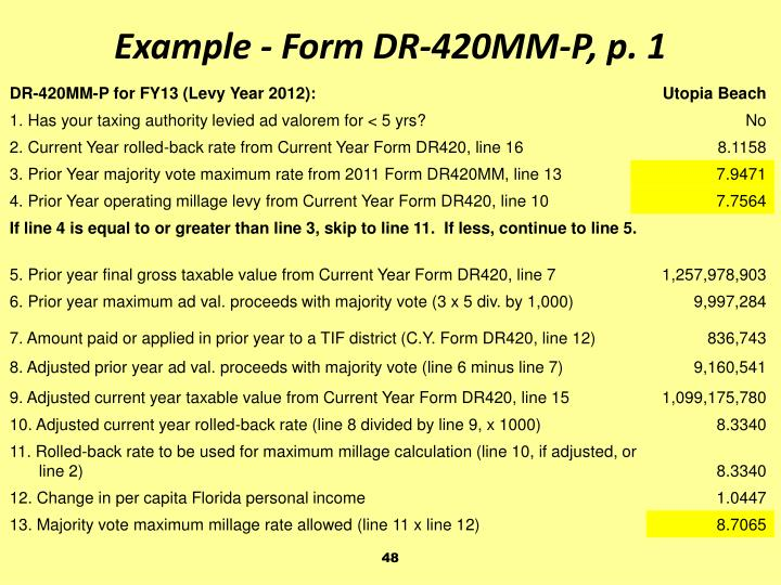 Example - Form DR-420MM-P, p. 1