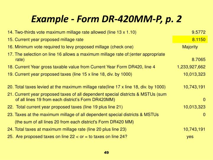 Example - Form DR-420MM-P, p. 2