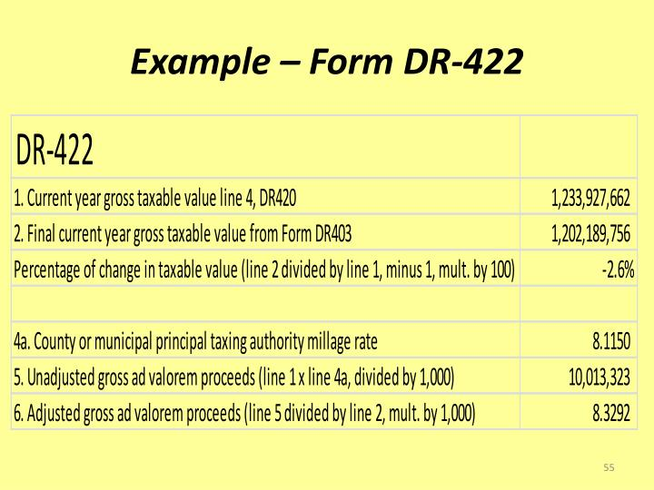 Example – Form DR-422