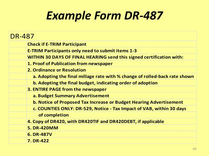 Example Form DR-487
