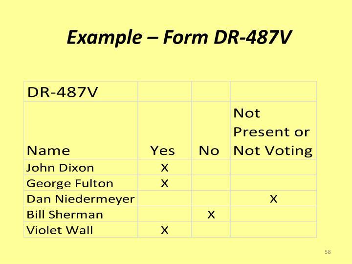 Example – Form DR-487V