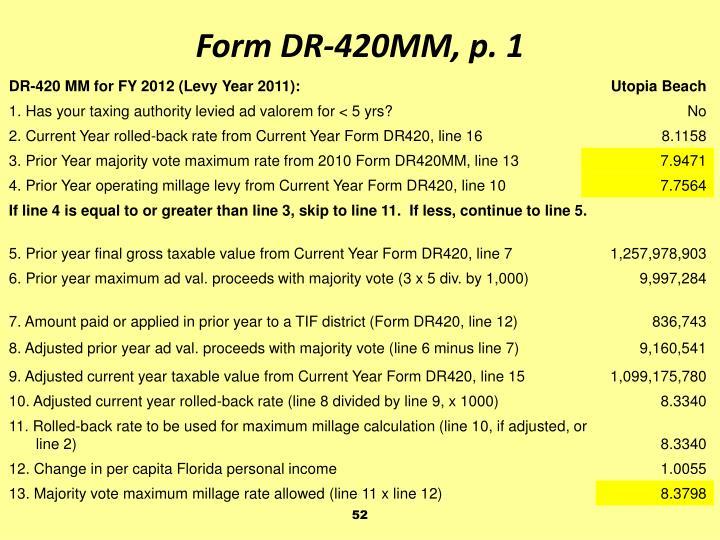 Form DR-420MM, p. 1