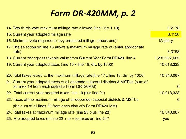 Form DR-420MM, p. 2
