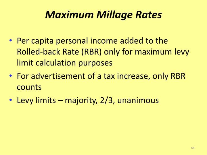 Maximum Millage Rates