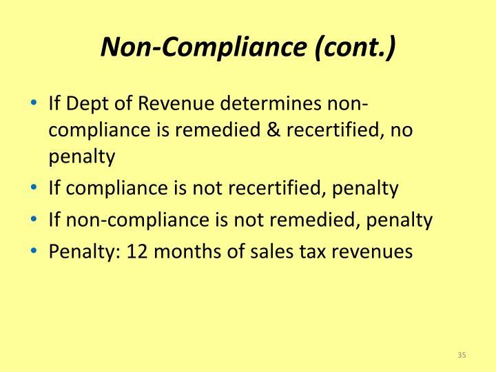 Non-Compliance (cont.)