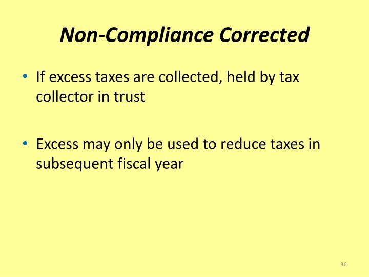Non-Compliance Corrected