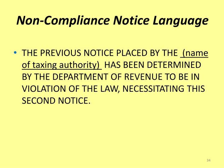 Non-Compliance Notice Language