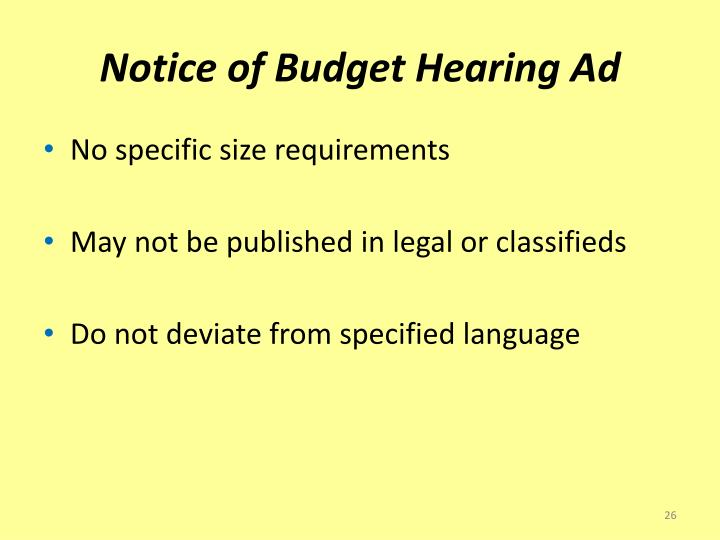 Notice of Budget Hearing Ad