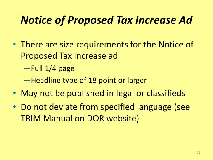 Notice of Proposed Tax Increase Ad