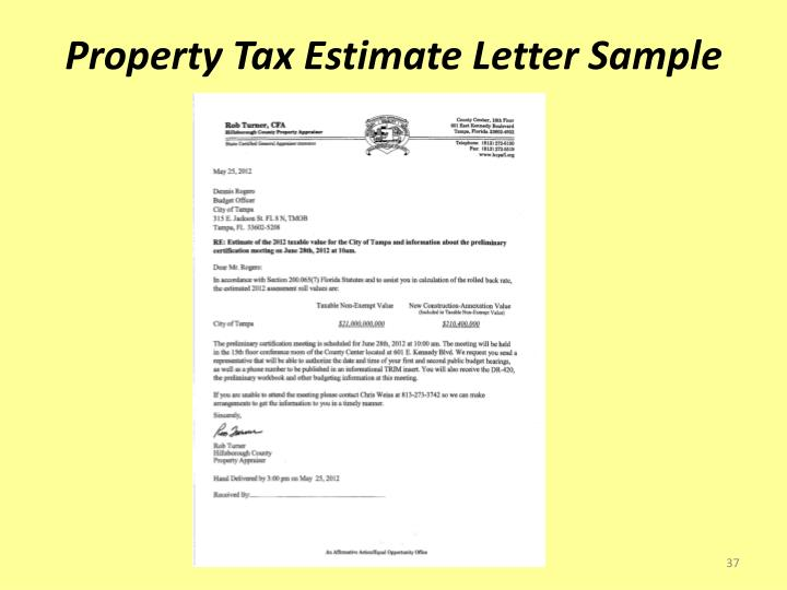 Property Tax Estimate Letter Sample