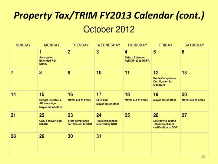 Property Tax/TRIM FY2013 Calendar (cont.)