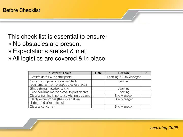 Before Checklist