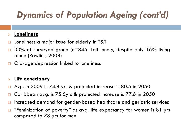 Dynamics of Population Ageing (cont'd)