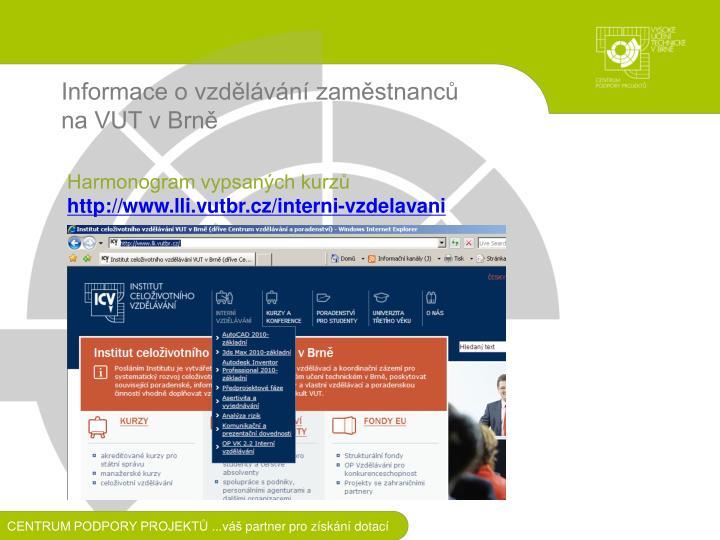 Informace o vzdělávání zaměstnanců