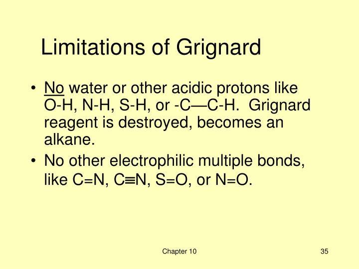 Limitations of Grignard