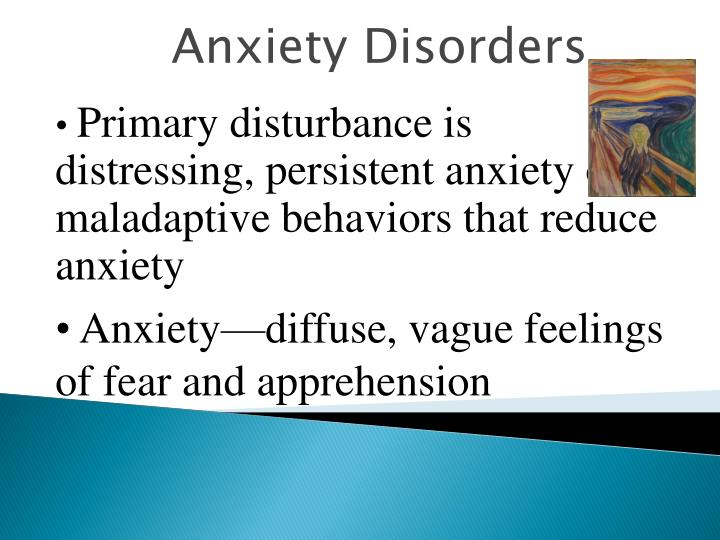 Primary disturbance is distressing, persistent anxiety or maladaptive behaviors that reduce anxiety