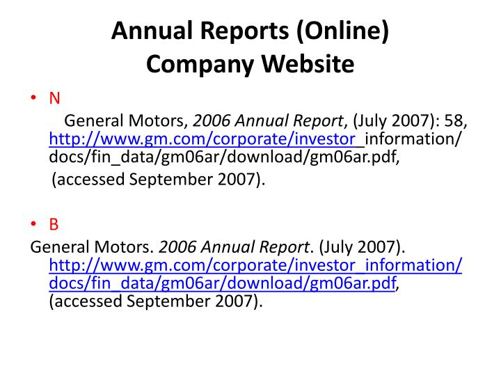 Annual Reports (Online)