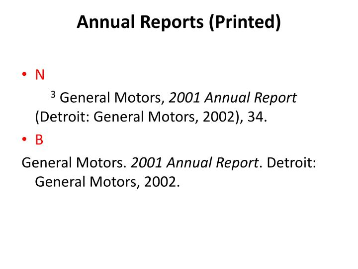 Annual Reports (Printed)