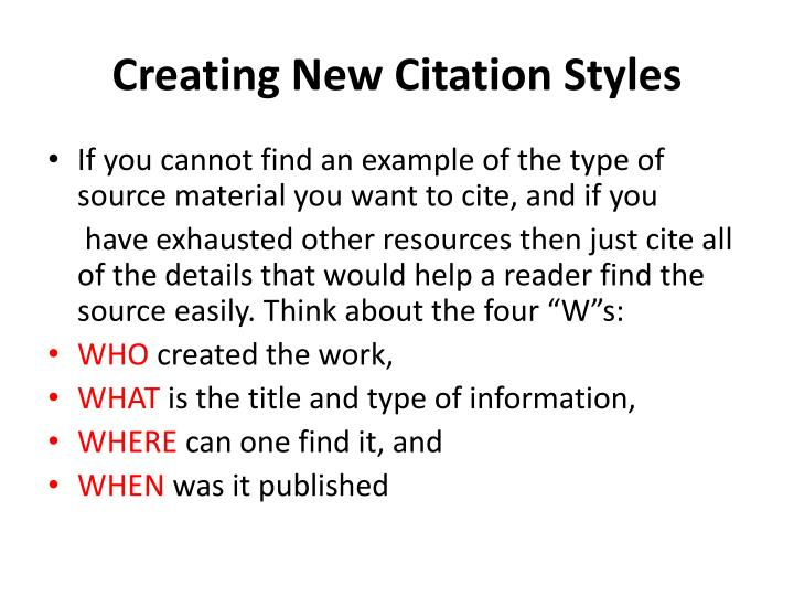 Creating New Citation Styles