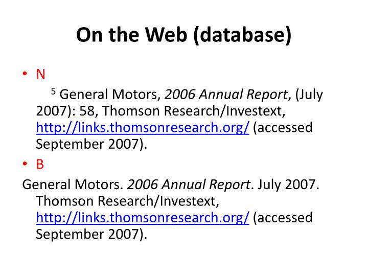 On the Web (database)