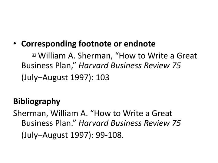 Corresponding footnote or endnote