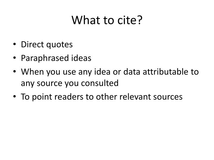 What to cite?