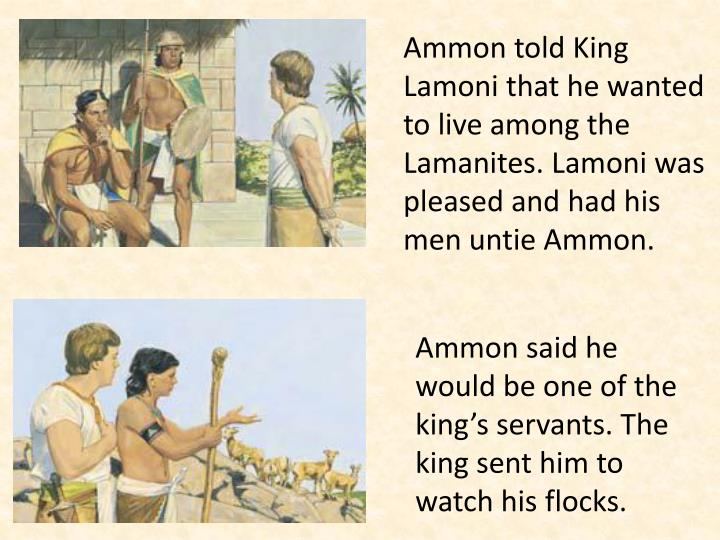 Ammon told King Lamoni that he wanted to live among the Lamanites. Lamoni was pleased and had his men untie Ammon.