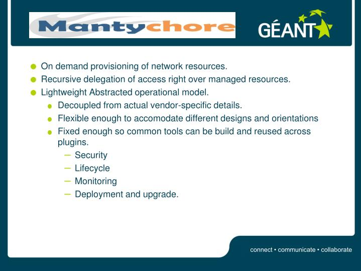 On demand provisioning of network resources.