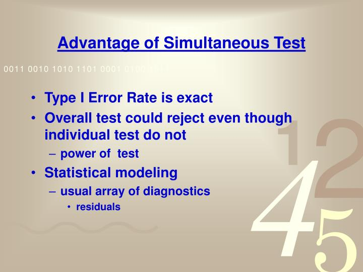 Advantage of Simultaneous Test