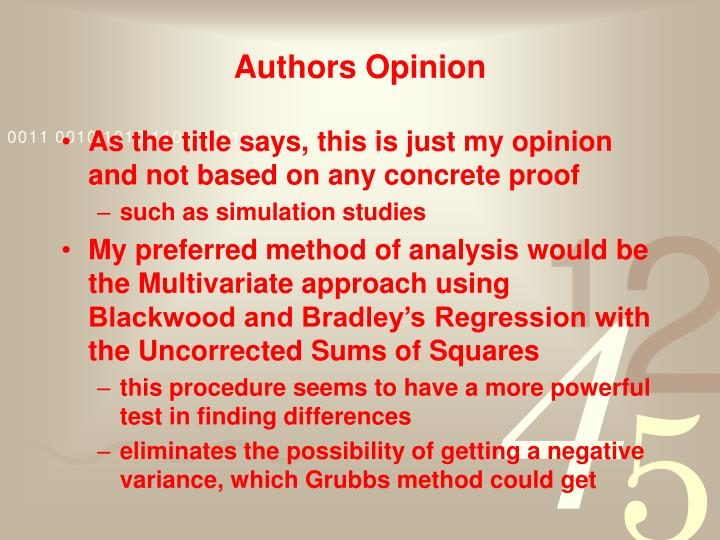 Authors Opinion