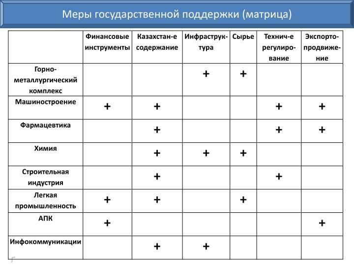 Меры государственной поддержки (матрица)