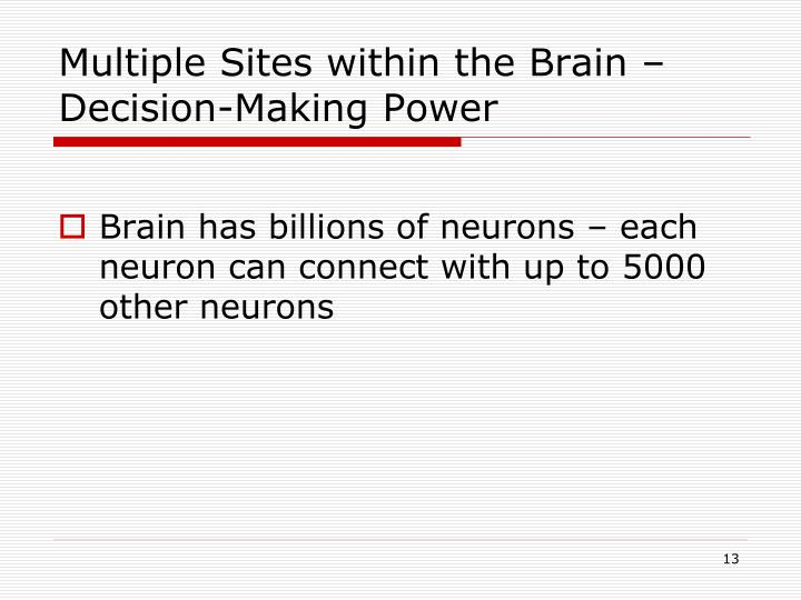 Multiple Sites within the Brain – Decision-Making Power