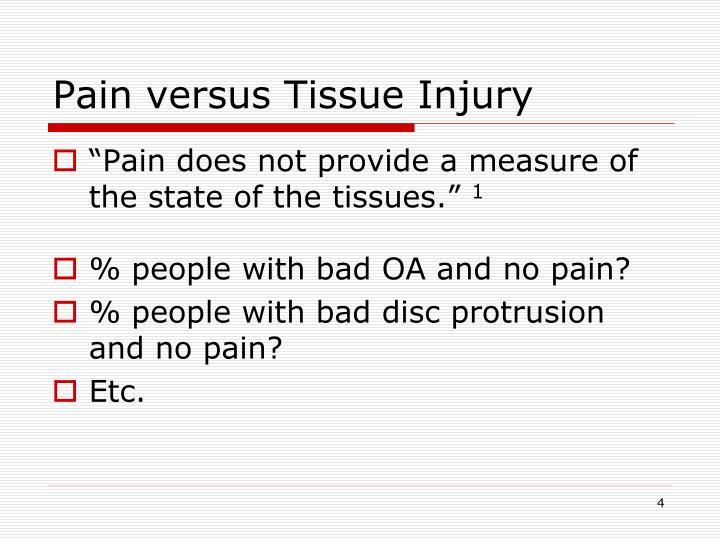 Pain versus Tissue Injury