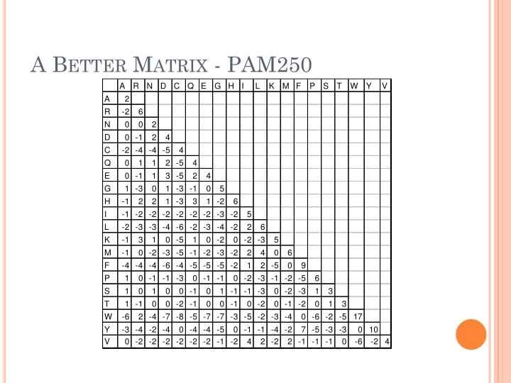 A Better Matrix - PAM250