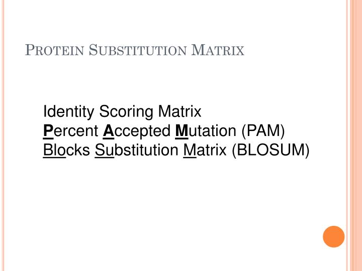 Protein Substitution Matrix
