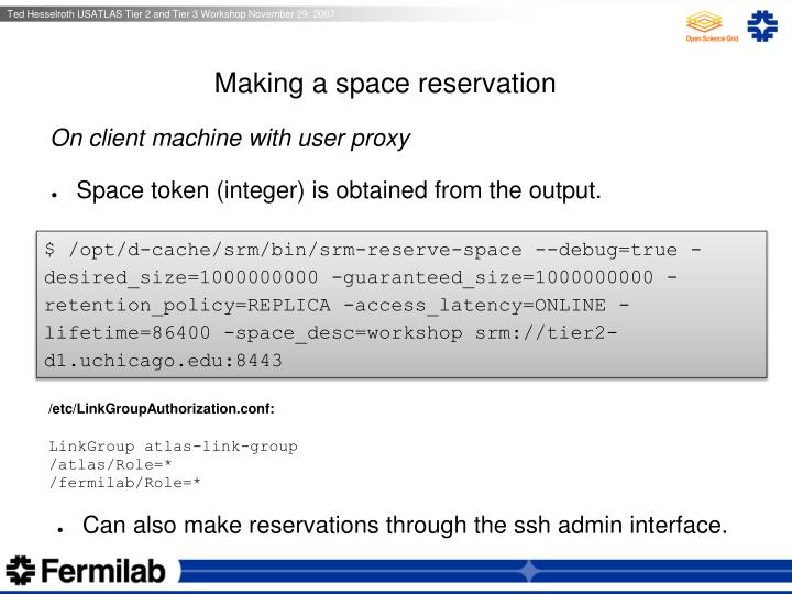 Making a space reservation
