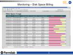 monitoring disk space billing