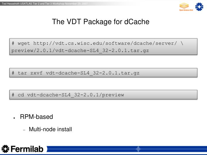 The VDT Package for dCache