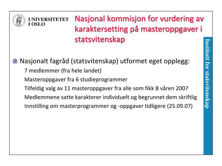 Nasjonal kommisjon for vurdering av karaktersetting på masteroppgaver i statsvitenskap