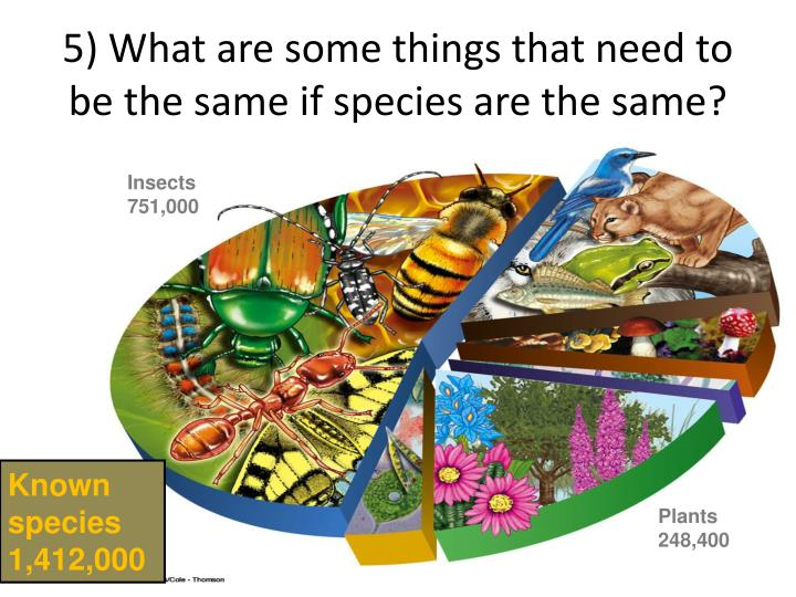 5) What are some things that need to be the same if species are the same?