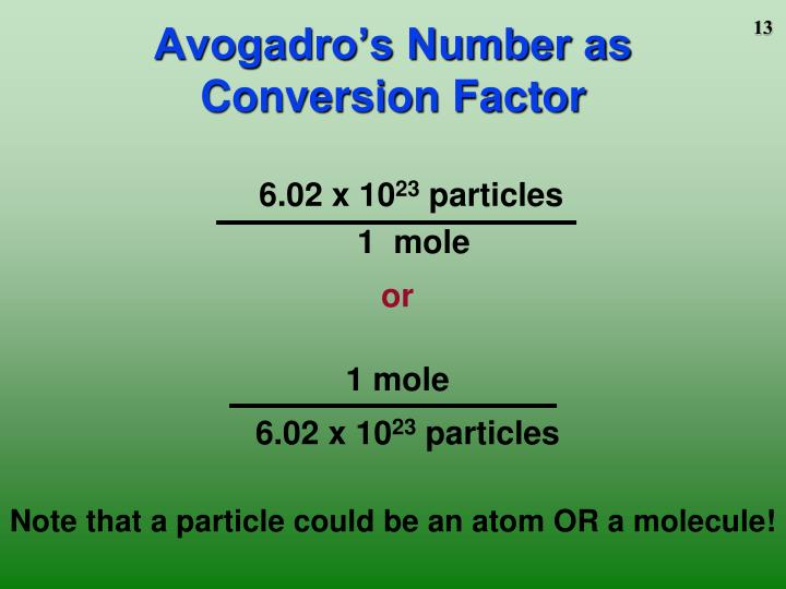Avogadro's Number as Conversion Factor