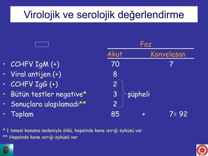 Virolojik ve serolojik değerlendirme