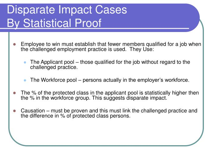 Disparate Impact Cases