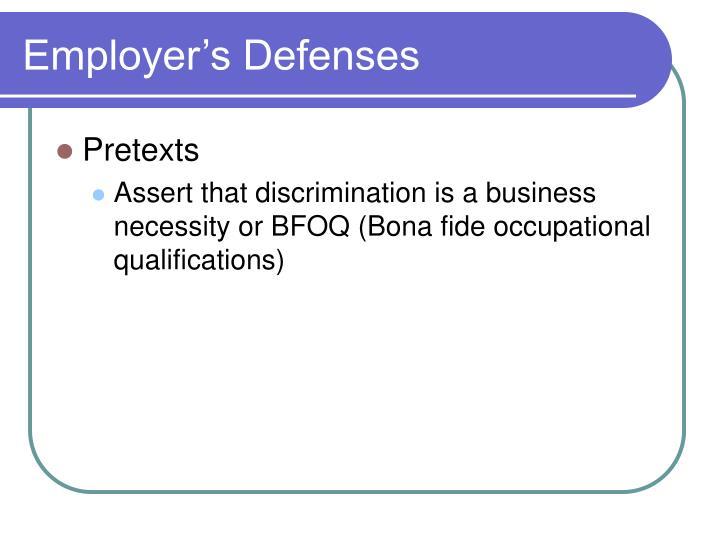 Employer's Defenses