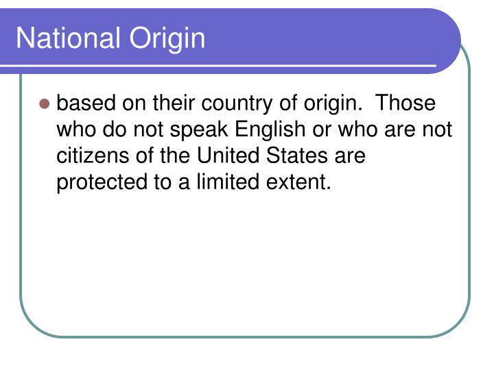 National Origin