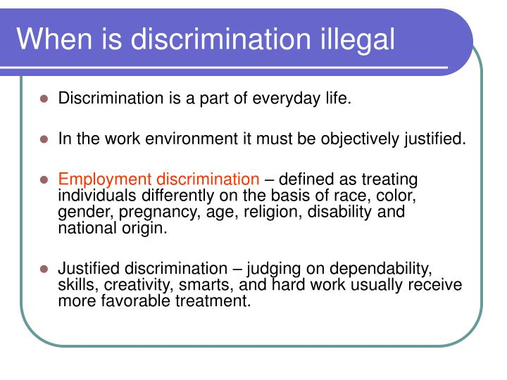 When is discrimination illegal